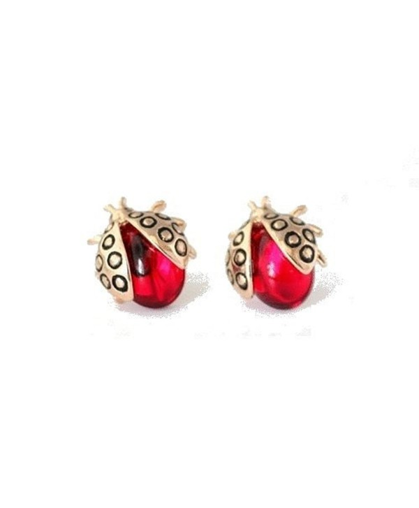 Ladybugs Stud Earrings with Red Zirconia Crystals 18 ct Rose Gold Plated for Women and Girls - CX12MYUP1CD