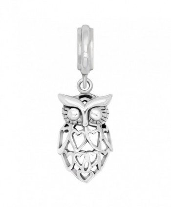 925 Sterling Silver Heart Owl Bird Dangle Bead Charm Fit Major Brand Bracelet - CG12EWP7M33