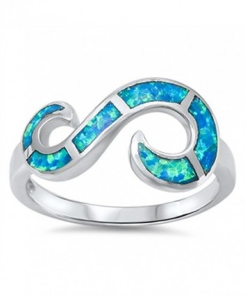 Open Infinity Swirl Blue Simulated Opal Ring New .925 Sterling Silver Band Sizes 6-10 - C7129IKACDN