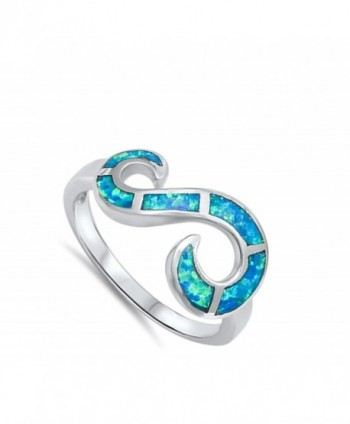 Infinity Swirl Simulated Sterling Silver in Women's Band Rings