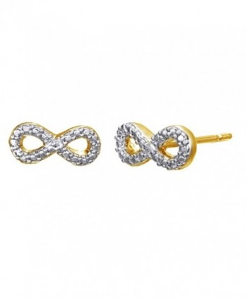 White Natural Diamond Beaded Infinity Stud Earrings In 14K Gold Over Sterling Silver - C912NRIVSO7