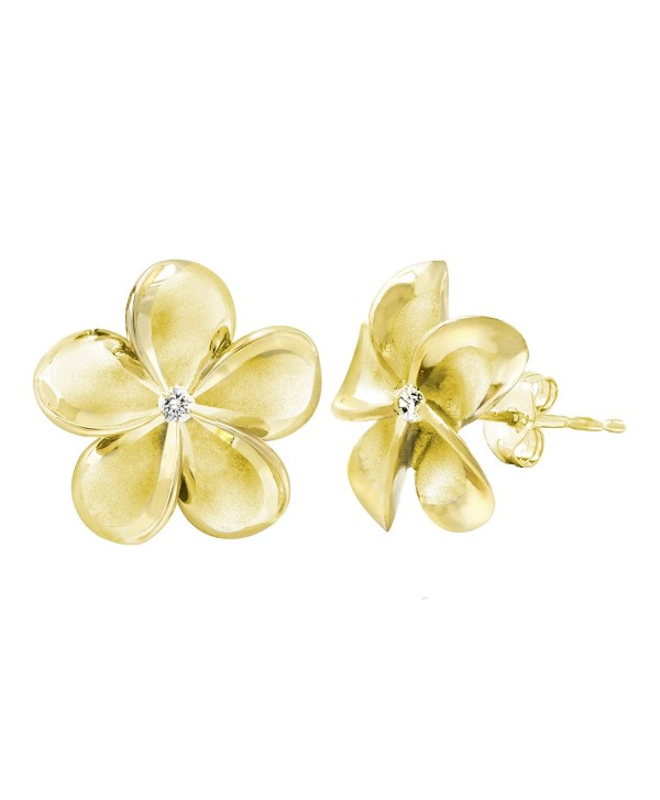 14k Yellow Gold Plated Stering Silver CZ Plumeria Stud Earrings- 14mm - CO1175T8XO1