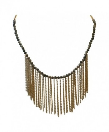 Unique Gold Tone Fringe Gray Black Bead Necklace - CU1240C3Y53