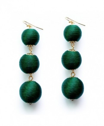 Emerald Earrings Graduated Threaded Statement - Emerald Green - CY1882HUZT4