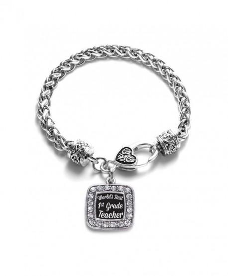 World's Best 1st Grade Teacher Classic Silver Plated Square Crystal Charm Bracelet - CU11U7O1HO9