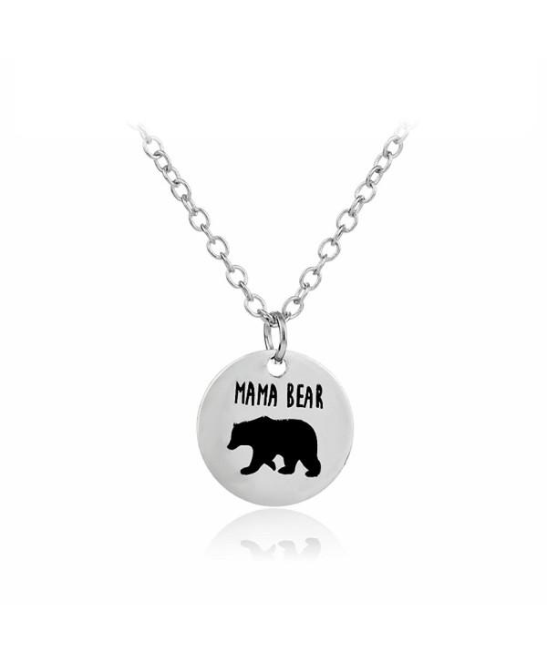 Meiligo Fashion Necklace Matching Engraved - mama bear - circular - CT17AZ7N5LW
