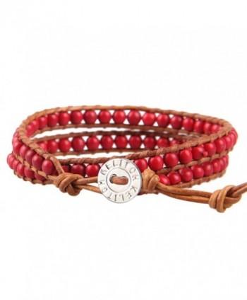 KELITCH Birthstone Semi-precious Gemstone Beads 2 Wraps Leather Bracelets - Red Agate - CG12LMYRD4Z