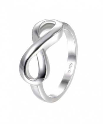 BORUO 925 Sterling Silver Ring High Polish Infinity Symbol Tarnish Resistant Comfort Fit Wedding Band Ring - CQ12O9PYNJC