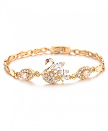"18k Gold Plated Swan Cubic Zirconia Tennis Bracelet L7.08"" - CR11VM5S1N7"