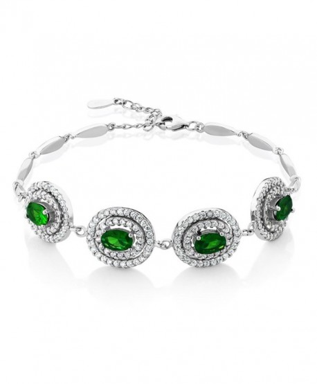 """Stunning 4.00 Ct Simulated Emerald Sterling Silver 7"""" Bracelet with 1"""" Extender - CB11IA66J9N"""