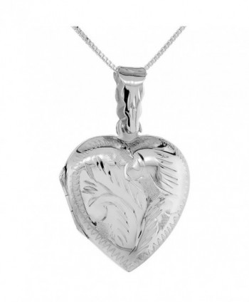 Sterling Silver Heart Locket Pendant / Charm Engraved Handmade- 1 inch - CX1113E9HNF