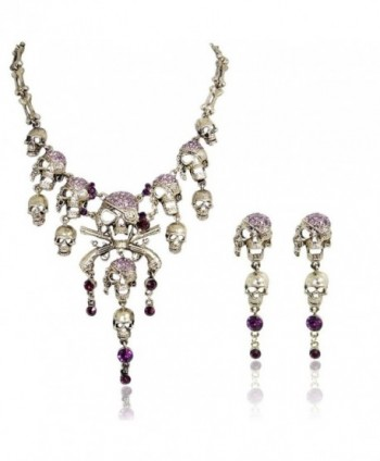 EVER FAITH Austrian Crystal Vintage Style Skull Pirate Necklace Earrings Set - Purple Antique Gold-Tone - C211H0KYKDN