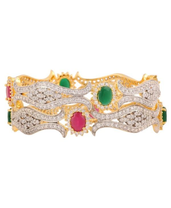 Swasti Jewels American Diamond CZ Colourful Stone Fashion Jewelry Bangle Set (2 Pieces) for Women - CY12D73O3ZB
