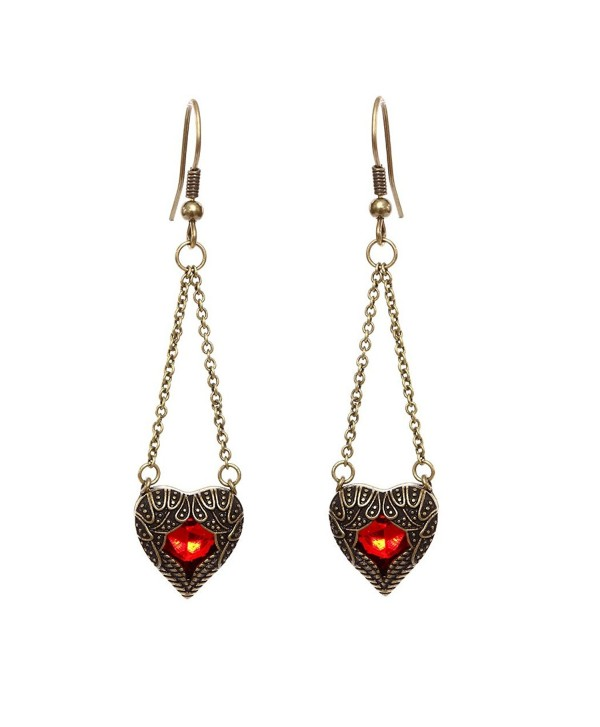 DaisyJewel Red and Bronze Heart Angel Wing Crystal Heart Dangle Earrings - CU12HRQAMBR