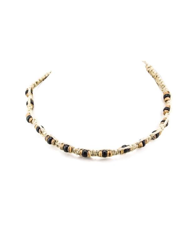 Hemp Choker Necklace With Coconut 1 (Black/Tiger) - CK1836MM835