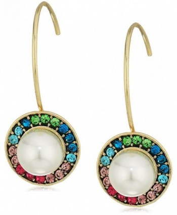 Betsey Johnson Womens Multicolor Stone and Pearl Drop Earrings - MULTI - C4183MG79UU