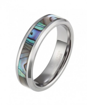 6mm 8mm Tungsten Abalone Shell Inlay Ring for Men Women Natural Comfort Fit Wedding Band - Metal-type-6mm - CA12CUPPH75