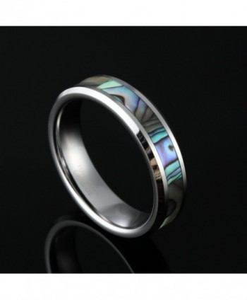 6mm 8mm Tungsten Abalone Shell Inlay Ring For Men Women Natural