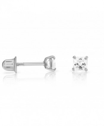 14k White Gold Cubic Zirconia Princess Cut Stud Earrings with Screw Backs - CH182MO2QT4