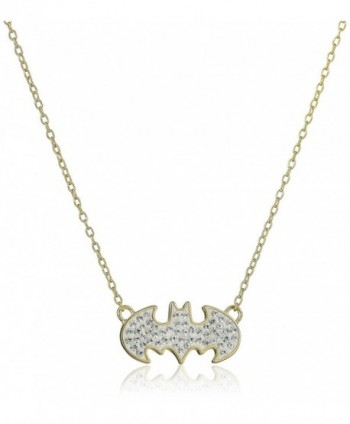 DC Comics 18k Gold Over Silver Batman Crystal Pendant Necklace - C011VUDZX69