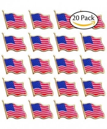 Bassion 20 PCS American Flag Lapel Pin United States USA Waving Flag Pins - 20 Pack - CW185ETQ2MM