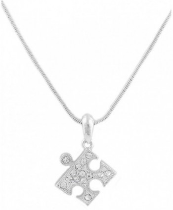 Silvertone Iced Out Puzzle Piece Pendant with an 15 Inch Snake Chain Necklace (B-1686) - C211FBA58DJ
