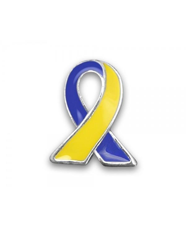 "Down Syndrome Awareness Blue & Yellow Awareness Lapel Ribbon Pins (25 Pins in Bulk) - "" Lapel Ribbon Pin "" - C61221LTPCL"