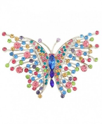 EVER FAITH Swallowtail Butterfly Brooch Multicolor Austrian Crystal Silver-Tone - CP11P2VJ4Q5