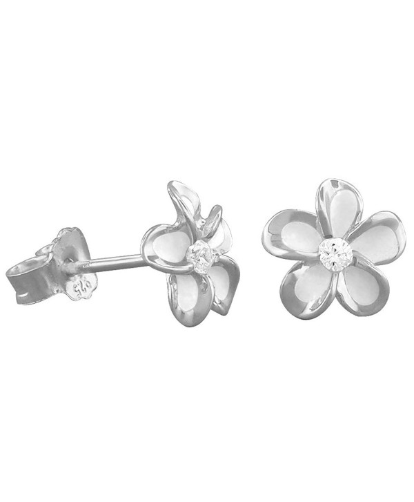 Sterling Silver 7mm Plumeria Stud Earrings - CN117WLTG4D