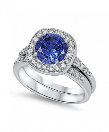 Sterling Silver Round Simulated Blue Sapphire CZ Halo Wedding Ring Set 12MM ( Size 5 to 10 ) - C611BGEONU9