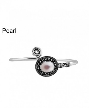4.20ctw-9x11 mmOval Genuine Gemstone & Created & 925 Silver Plated Bangle Made By Sterling Silver Jewelry - Pearl - C5182LLR8EU