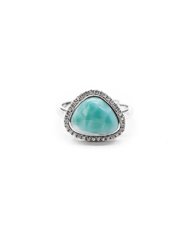AZIEL 925 Sterling Silver and Cubic Zirconia Larimar Ring - CC12EYFAXLD