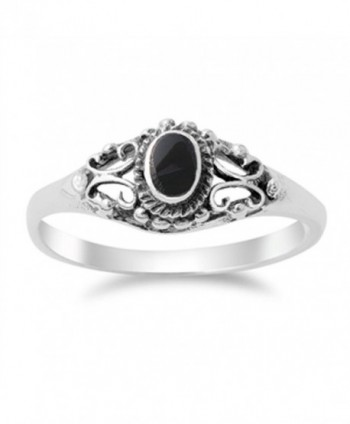 Women's Vintage Design Simulated Black Onyx Ring New .925 Sterling Silver Band Sizes 4-10 - CZ11Y23IABX