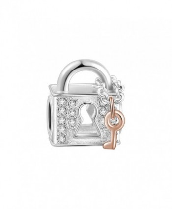 SOUFEEL Rose Golden Lock Love Charms 925 Sterling Silver Fit European Bracelets and Necklaces for Love - CI17XQ0LW67