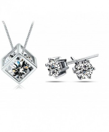Injoy Jewelry Zirconia Necklace Earrings - Cubic Zirconia Jewelry Set - C218270STWR