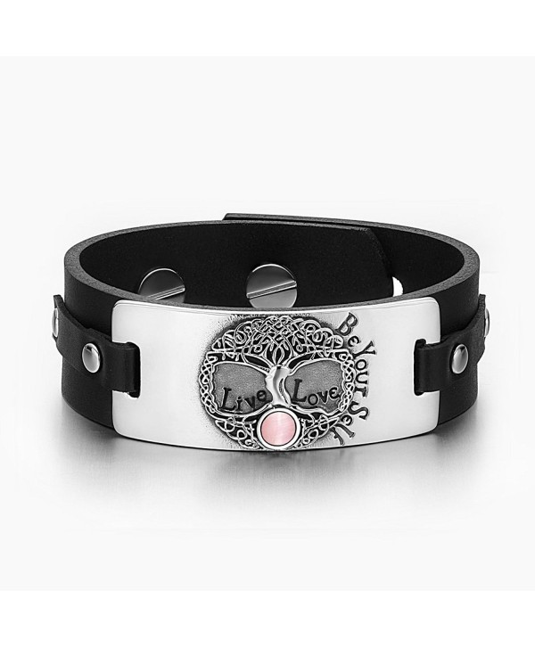Tree of Life Live Love Be Your Self Celtic Magic Amulet Pink Simulated Cats Eye Black Leather Bracelet - CX129CIS7MZ