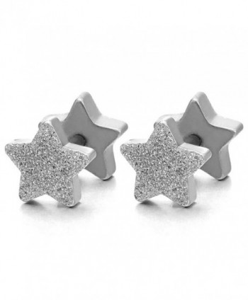 2pcs Satin Finished Pentagram Star Screw Stud Earrings for Men Women- Steel Cheater Fake Ear Plugs- - CF183XR98IY