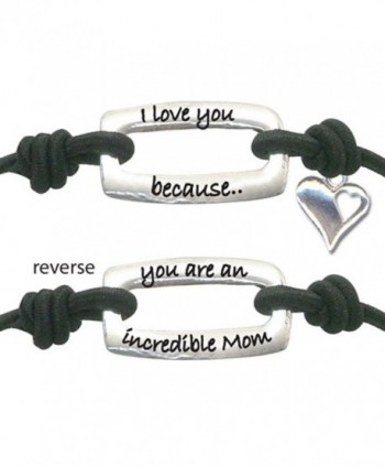 I Love You Because You Are An Incredible Mom Heart Inspirational Positive Energy Stretch Wrist Band - Black - CE11EI77SRV