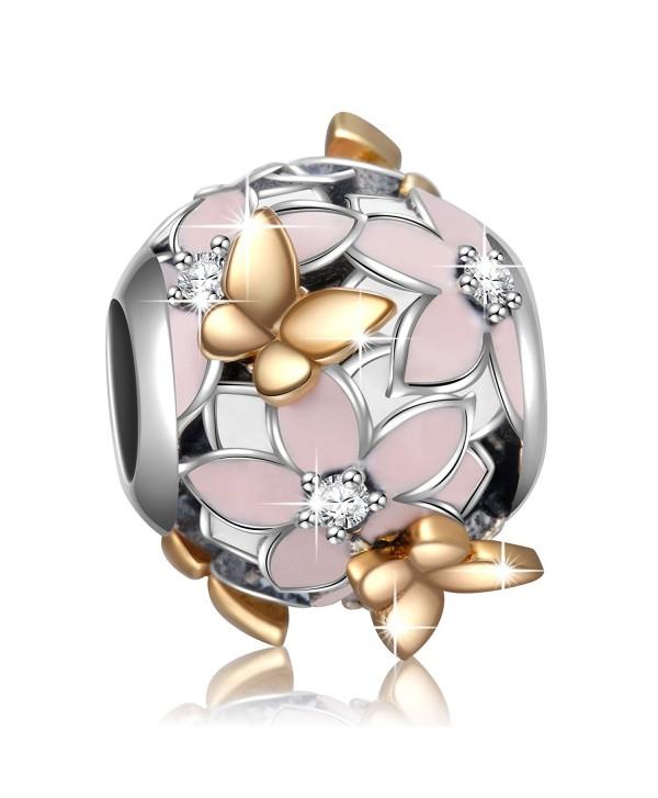 925 Sterling Silver Magnolia Bloom Enamel & CZ Charms Bead for European Bracelets Women Girl Gifts - Bead - C8184IA2QC3