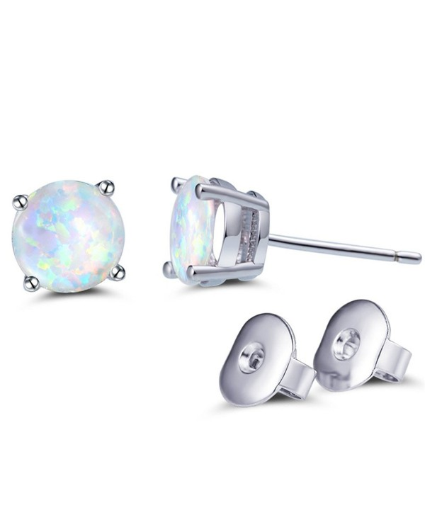 Easthors 925 Sterling Silver Created Opal 6mm 8mm Round oval Stud Earrings for Women-Girls - CL184WIO2N8