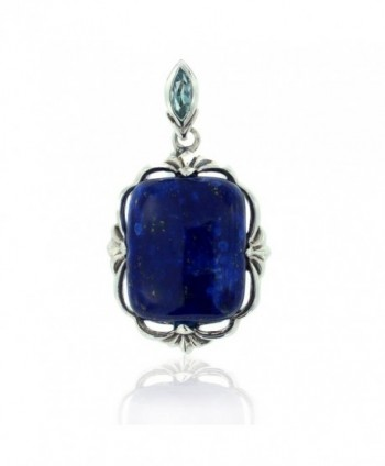 925 Oxidized Sterling Silver Blue Lapis and Topaz Square Gemstone Pendant - CT11LBFT727