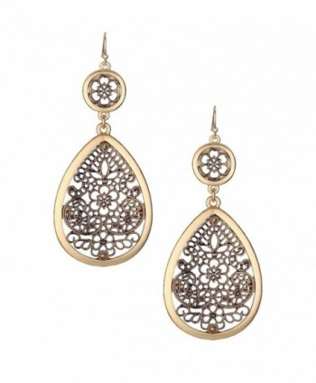 "Extra Large & Long Copper-Tone Filigree & Burnished Gold-Tone Open Work Dangle Teardrop Earrings 3 1/4"" - CX1863ZT87A"
