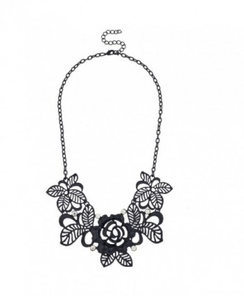 Lux Accessories Black Leaf Flower Filigree Floral Rhinestone Bib Statement Chain Necklace - CR11N49PRIB