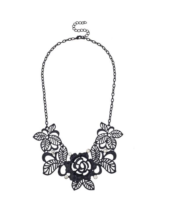 Lux Accessories Black Leaf Flower Filigree Floral Rhinestone Bib Statement Chain Necklace - CR11N49PRIB
