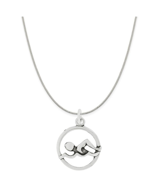 Sterling Silver Swimmer Charm Pendant on a Sterling Silver Rope- Box or Curb Style Chain Necklace - CF128Z2G0B9