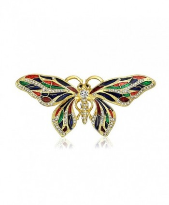 Bling Jewelry Gold Plated Multi Color Enamel Crystal Butterfly Brooch Pin - CZ11B8X18CJ