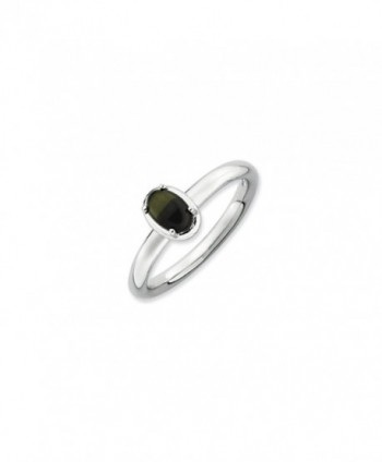 Sterling Silver Stackable Oval Black Onyx Cabochon Ring - CN1188BRYLX