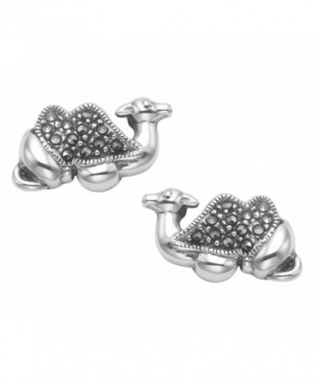 Sterling Silver Marcasite Camel Stud Earrings - CP11HOWC9Q7