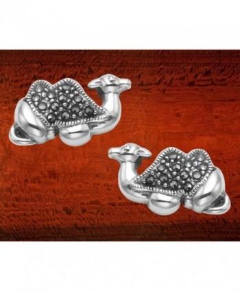 Sterling Silver Marcasite Camel Earrings in Women's Stud Earrings