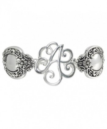 Spoon Handle Style Monogram Initial Silver Tone Magnetic Clasp Bracelet - C112GJGA1V7